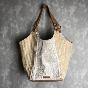 SakRoots woven straw and white bag